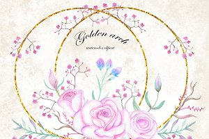 Watercolor flowers Clip Art, Roses