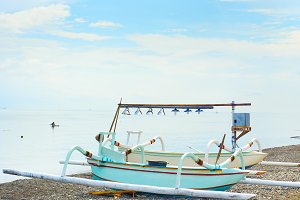 Traditional Balinese boats on  beach