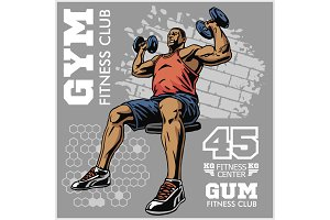 bodybuilder t-shirt design - vector illustration