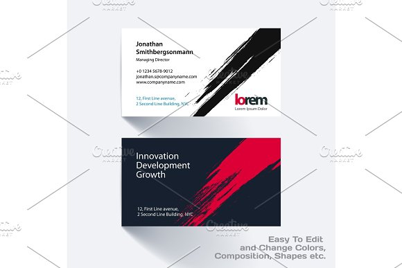 Vector Business Card Template With With Grunge Colourful Stroke