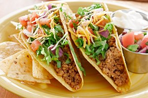 two hard shell beef tacos