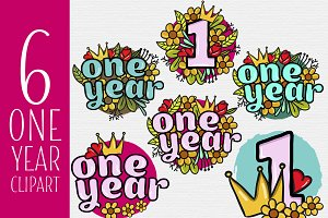 One year clipart (flowers & crown)
