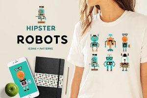 Hipster robots + patterns set