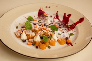 Tasty dessert from pumpkin and sea-buckthorn