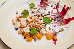 Tasty dessert from pumpkin and sea-buckthorn