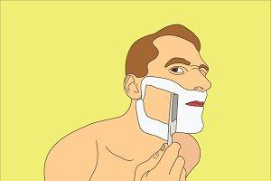 Man shaving razor.
