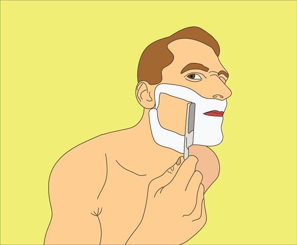 Man Shaving Razor