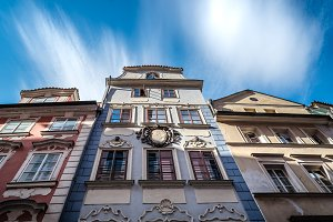 Low angle view of old buildings in historic centre of Prague
