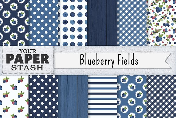 Blueberry Digital Paper Backgrounds