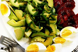 Avocado, tomato and boiled eggs