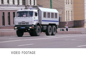 Police trucks and cars rides Moscow
