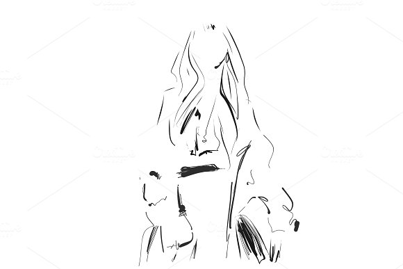 Fashion Model Sketch Vector Illustration Girl In The Shirt And Coat Doodles