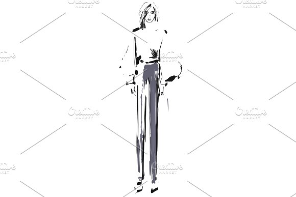 Fashion Model Sketch Vector Illustration Girl In The Shirt And Pants