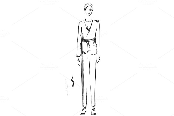 Fashion Model Sketch Vector Illustration Girl In The Suit With Pants