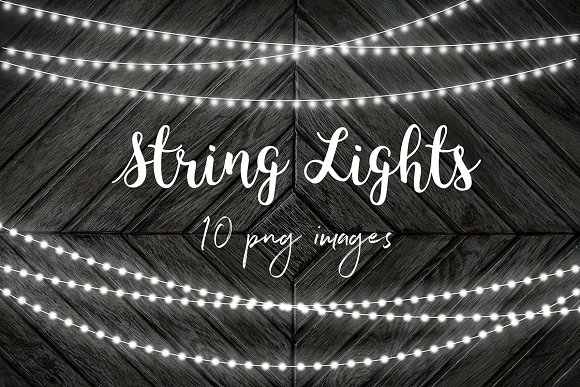 White String Lights Clip Art