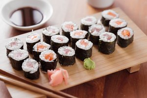 platter full of maki sushi