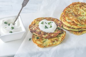 Portion of zucchini fritters