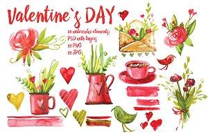 watercolor valentine`s day