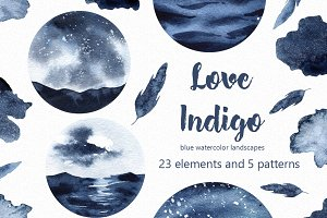 Love Indigo watercolor clipart