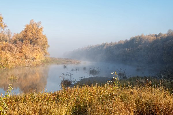 Autumn morning on the bank of the S…