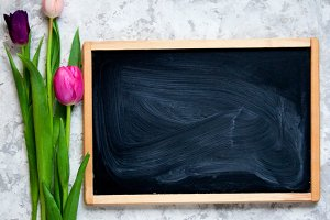 Tulips and chalkboard mockup