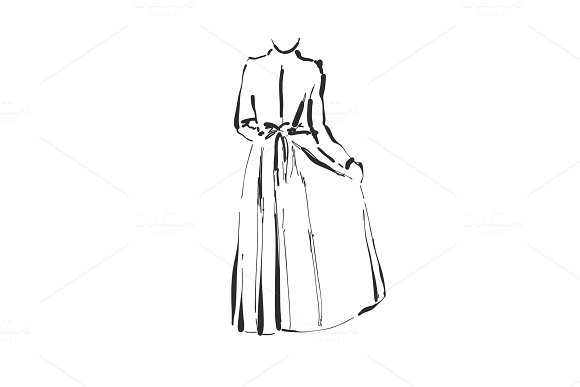 Vector Dress Drawing Hand Drawn Clothes Sketch