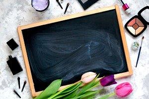Chalkboard, tulips and cosmetics