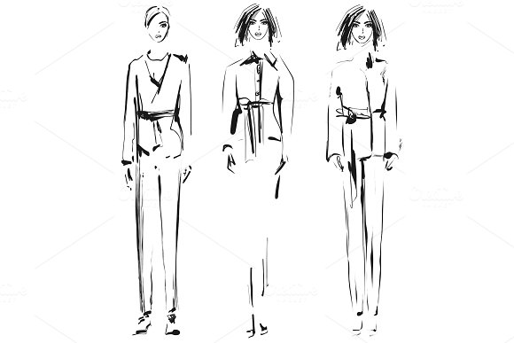 Fashion model. Sketch. Vector illustration. Girls in the suit with pants