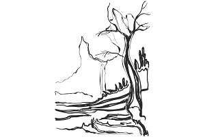 Sketch of old trees. Vector illustration landscape