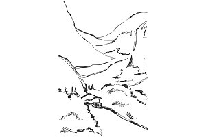 Hand drawn vector illustration of mountain landscape. Sketch