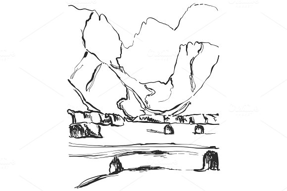 Landscape sketch. Hand drawn mountains and fields