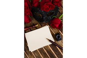 dark red roses on table