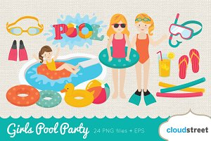 Girls Pool Party Clip Art