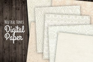 Neutral Damask Digital Backgrounds