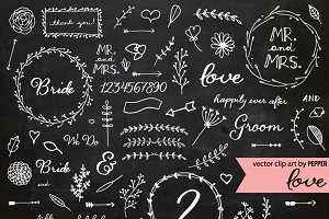 Doodle Chalkboard Wedding Elements