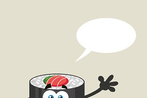 Talking Sushi Roll Character Waving