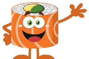 Funny Sushi Roll Mascot Character