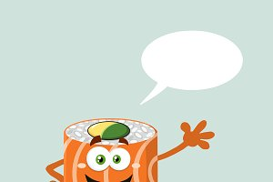 Sushi Roll With Speech Bubble