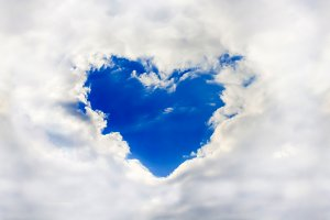 Heart in the clouds. Sky