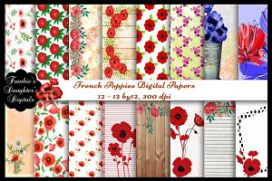 French Poppies Digital Papers