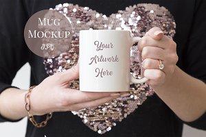 Mug Mockup-Woman holding mug