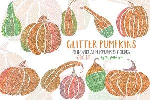 Glitter Pumpkin Clip Art Set
