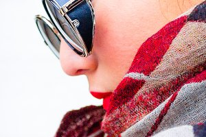 Girl With Stylish Glasses and Scarf