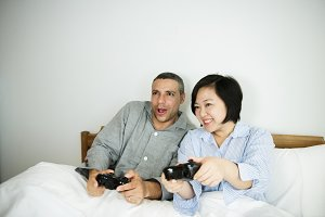 A couple playing game together