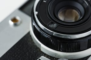 Closeup of vintage camera