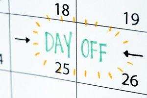 Day off calendar reminder