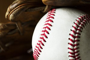 Closeup of baseball ball