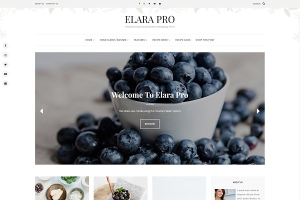 WordPress Blog Themes - Elara - A Beautiful Food Blog Theme
