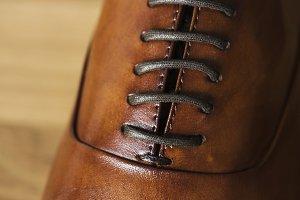 Closeup of leather shoe