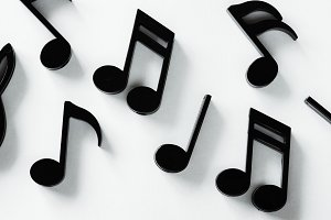 Closeup of music notes
